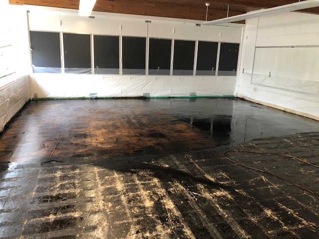 removed floor in a large room