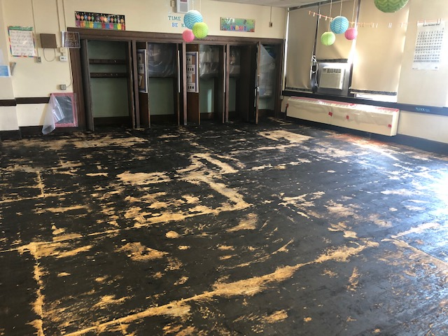 removed floor in a classroom